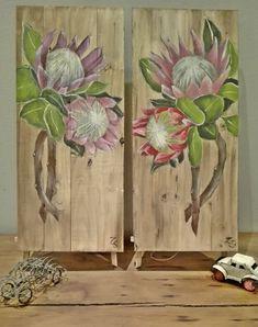 Art PROTEAS Protea Art, Protea Flower, Flowers, Painting On Pallet Wood, King Art, Commercial Art, Art Club, Acrylic Art, Wood Wall Art