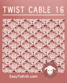Twist Cable Diamond Grid - Easy To Knit Knitting Squares, Cable Knitting Patterns, Knitting Stiches, Loom Knitting, Knitting Needles, Free Knitting, Crochet Patterns, Simply Knitting, Knit Stitches
