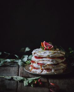 Blood orange curd and olive oil meringue stack.