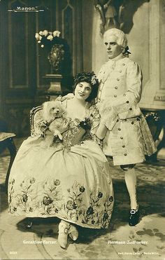 """as Manon & des Greux in """"Manon"""" by Massenet GERALDINE FARRAR American Soprano Started her vocal lessons with Mrs. Long in Boston in The Farrar also studied operatic acting and deportment with Victor Capoul, By the time she was 13 Farrar was livin Vocal Lessons, Music Composers, Opera Singers, Classical Music, The Past, Hollywood, Retro, Vintage, Opera Singer"""