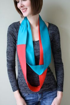 Red and Turquoise color blocked scarf
