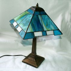 Commissioned Prairie style stained glass lamp.
