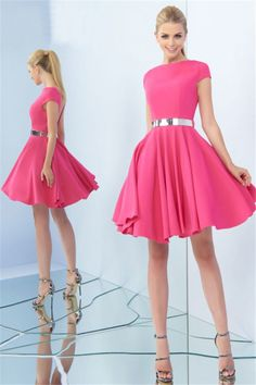 0b89d0272a9 High Neck Cap Sleeve Open Back Short Watermelon Satin Prom Dress Metal Belt