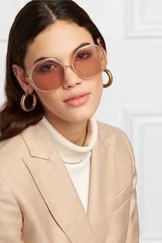 f5578410708d Linda Farrow - Round-frame acetate and gold-tone sunglasses