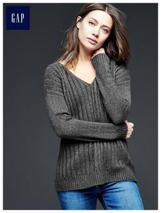 Ribbed V-neck pullover sweater, any color xl