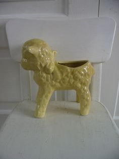 Vintage Lamb Sheep Planter Vase Nursery Decor Yellow, via Etsy.