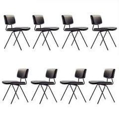 """Set of Eight """"Compas"""" Chairs by Pierre Guariche"""