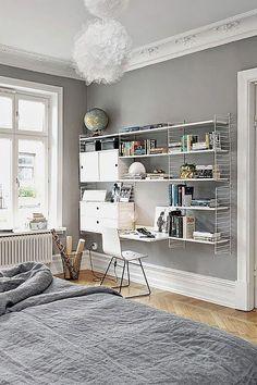 Home Design Grey Shelves Ideas Home Office Design, Home Office Decor, Home Decor Bedroom, Bedroom Furniture, Furniture Design, House Design, Office Ideas, Shelf Furniture, Office Furniture