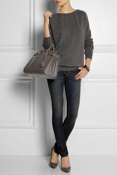 steel grey- bag wish list- Saint Laurent|Sac Du Jour small leather tote|NET-A-PORTER.COM