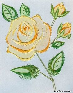 The Latest Trend in Embroidery – Embroidery on Paper - Embroidery Patterns Embroidery Cards, Embroidery Stitches, Embroidery Patterns, Hand Embroidery, Flower Embroidery, Card Patterns, Stitch Patterns, Doily Patterns, Dress Patterns