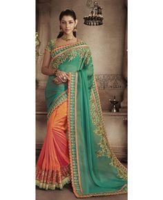 Pallu : Green Colour Chiffon With Heavy Zari Embroidery Work Border Skirt : Rust Colour Handloom Art Silk Fabrics With Zari Embroidery Work Blouse : Green Colour Dhupion With Zari Embroidery Work
