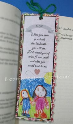 When you open up a book, this bookmark you will see. Let it remind you of when I was small and when you would read to me. Available in grandma too. I Love Reading, Love Book, Craft Activities For Kids, Preschool Crafts, Craft Ideas, Easy Arts And Crafts, Diy And Crafts, Opening A Daycare, Affordable Daycare
