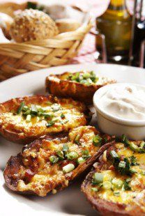 TGI Friday's Baked Potato Skins are a delicious appetizer that taste just like the best parts of a baked potato.