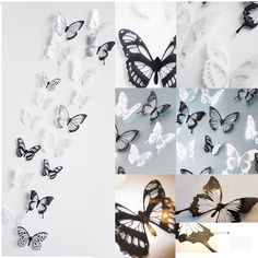 18 PCS 3D Papillon Cristal Transparent Decor Mural Autocollant Stickers Muraux | eBay