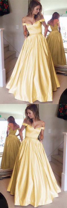 Stunning Yellow Gold Prom Dresses Ball Gowns Satin Evening Dresses V-neck Off The Shoulder,just like a princess!