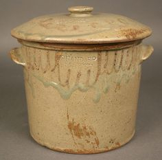 """Thomas Chandler - Butter Crock with Lid. Alkaline Glazed Stoneware with Slip Decorations. Stamped """"CHANDLER / MAKER"""" on both Crock and Lid. Circa x + Lid. How To Make Vinegar, Leftover Wine, Vinegar With The Mother, Vinegar And Water, White Vinegar, Butter Crock, Nourishing Traditions, Stoneware Crocks, Cooking Wine"""