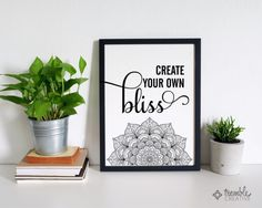This year my life goal is about finding and creating my own bliss. Its a pursuit of joy and being present in each day of my life. Since youre here, I suspect youve got the same goal. I love this artwork printed in black, like its shown ... but I also love adult coloring books and think this mandala would be beautiful with your own hand colored touches before you frame it. Youll receive high-quality digital files immediately after purchase for printing at home, your local print shop or photo…