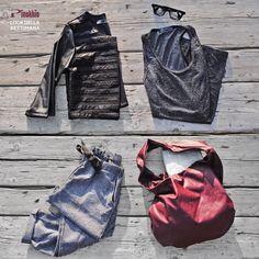 Pantalone sarouel in tessuto bouclet e coulisse, canotta lurex glitterato grigio grafite e giacchino in ecopelle con ineserti di microrete - senza dimenticare la capiente borsa #rouge