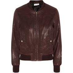 Étoile Isabel Marant Brantley leather bomber jacket ($725) ❤ liked on Polyvore featuring outerwear, jackets, burgundy, bomber jacket, zip bomber jacket, leather zip jacket, leather flight jacket and brown bomber jacket