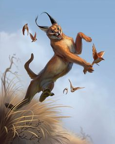 """tehchanartme: """"Caracal painting I did based on a sketch I did a while ago :) Enjoy it! Big Cats Art, Cat Art, Cute Animal Drawings, Animal Sketches, Caracal Cat, Animals Beautiful, Cute Animals, Mythical Creatures Art, Warrior Cats Art"""