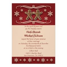 Shop Gingerbread Christmas Wedding Invitation created by youreinvited. Holiday Party Invitation Template, Christmas Wedding Invitations, Invitation Templates, Zazzle Invitations, Invitation Cards, Invites, The Wedding Date, Wedding Ideas, Wedding Stuff