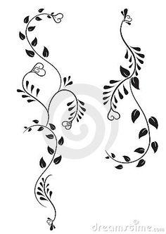 Black Floral Tattoo Design
