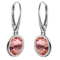 925 Sterling Silver Drop Dangle Earrings Leverback 7mm Crystals from Swarovski®-Rose Peach-$9.50