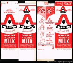 Alamito - Econo-Pak Vitamin D Milk - milk carton food package box - Marathon printer sample - 1962 | Flickr - Photo Sharing!