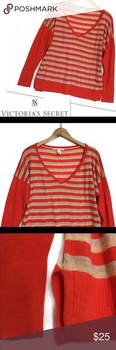 "VICTORIA'S SECRET ORANGE STRIPED V - NECK SWEATER VICTORIA'S SECRET  ORANGE STRIPED V - NECK TOP SWEATER  SZ XL 46-48"" SLOUCHY BUST 24.5"" LENGTH 100% COTTON GOOD CONDITION Victoria's Secret Sweaters V-Necks"