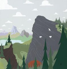 Goat Peak - A large peak over looks a lush mountain valley. A tribe of mountain goats scale towards the peak.