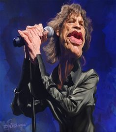 wooden-horse: Caricature of English rock musician and lead singer of the Rolling Stones, Mick Jagger at the Glastonbury Festival. The 70 year old will become a great-grandfather early in the new year. Painted in Adobe Photoshop. Funny Caricatures, Celebrity Caricatures, Cartoon Faces, Funny Faces, Cartoon Art, Mick Jagger, Satire, Silvester Stallone, Heavy Metal