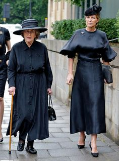 (L-R) Lady Pamela Hicks and India Hicks attend the funeral of Patricia Knatchbull, Countess Mountbatten of Burma at St Paul's Church, Knightsbridge on June 27, 2017 in London, England.