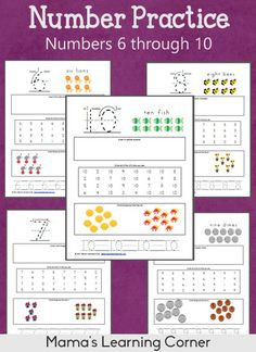 Number Practice Worksheets: 6 through 10 (Number recognition, shapes & colors, and handwriting practice too!)
