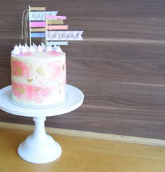 Pretty Pastel Buttercream Birthday Cake.