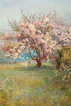 """Blossom Time"" by Charles Edward Georges A painting evoking a sense of nostalgia, with a cherry blossom tree in a beautiful green/brown field, with a blue sky behind it. Landscape Art, Landscape Paintings, Impressionist Paintings, Tree Art, Beautiful Paintings, Painting Inspiration, Painting & Drawing, Amazing Art, Watercolor Paintings"