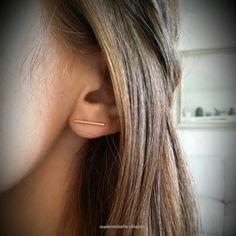 Boucles d'oreilles traits plaqué or 18 par mademoiselleceladon
