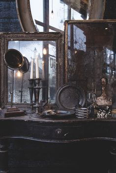 Dangerous Furniture For Witchy Apartment Decorating 33 Shabby Chic Kitchen, Shabby Chic Homes, Goth Home, Witch Decor, Witch House, Dark Interiors, Gothic House, Victorian Gothic, Gothic Home Decor