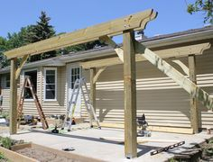 """Before installing the joists, we wanted to give the structure more stability, to prevent it from racking. We cut 2X6's into pieces about 3' long, cutting 45º angles on the ends, and scribing and cutting a gracious Mediterranean curve onto each. (Okay, so maybe it was a stylish Buckeye curve). After pre-drilling, to avoid splitting the wood, and double-checking for plumb, we screwed them to the face of the post, holding them all to the same height, then to the headers, using 3"""" exterior…"""