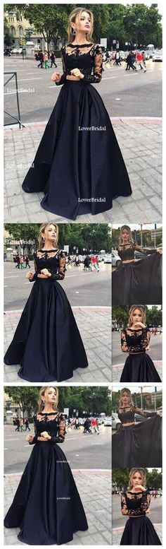 Long Prom Dress ,Black Prom Dress,Prom Dress With Lace ,Long Sleeve Prom Dress ,Elegant Prom Dress,Custom Prom Dress,Party Dresses,Evening Dresses,PD0045