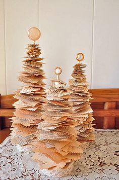 DIY Book Page Christmas Trees