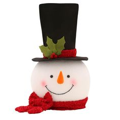 18 in. Snowman Tree Topper, Black/White/Red/Orange/Green