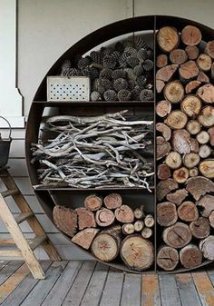 Firewood Storage Ideas For Winter Firewood Storage Ideas For Winter - DIY Decorator Outdoor Firewood Rack, Firewood Holder, Indoor Firewood Storage, Outdoor Storage, Recycling Storage, Winter Diy, Winter Ideas, Storage Design, Storage Ideas