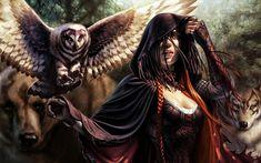 women animals magic the gathering long hair corset fantasy art huntress owls cloak artwork bears Fantasy Women, Fantasy Girl, Fantasy Witch, Dark Fantasy, Fantasy Artwork, Magic The Gathering, Character Portraits, Character Art, Fantasy Characters