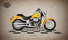Harley Davidson Framed Prints - Harley Davidson Fat Boy Framed Print by Mark Rogan