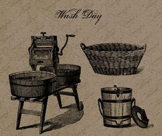 Vintage Digital Graphics Instant Download Washday by nannyscottage, $2.00
