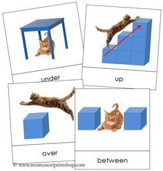 These Preposition Cards are a fun set of picture cards that illustrate 18 different prepositions. These grammar cards are an excellent addition to your Montessori grammar curriculum. Preposition Pictures, Preposition Activities, Language Activities, Kindergarten, Preschool Math, Montessori Classroom, Montessori Activities, Speech Language Therapy, Speech And Language