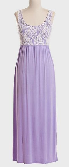 Lavender & Ivory Lace Overlay Maxi Dress -purple is my favorite color!!