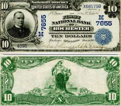 US 10 Dollar Note Series of 1902 Red Seal 1903 Feb 25 Serial# 3360 The First National Bank of Marquette 390 Signatures: Lyons / Roberts Vanity Signature Peter White, President America between two ships Portrait: President William McKinley Money Notes, Rare Coins Worth Money, Coin Worth, Show Me The Money, Old Coins, Coin Collecting, Youtube, William Mckinley, Rochester Indiana