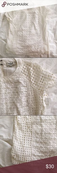 Madewell Knit Top Like new top. Great for the summer. Very light fit. Floral design. Off white color. Material doesn't stretch. Madewell Tops Blouses