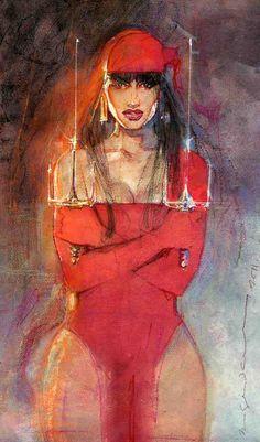 Bill Sienkiewicz's Elektra. that first Elektra was drawn entirely on wax paper